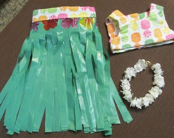18 inch American Girl Doll 3 piece Hawaiian outfit hula skirt cami and lei Kanani one of a kind