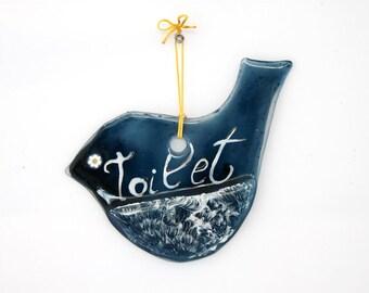 Toilet door Signs, blue bird WC sign ornament for the restroom door