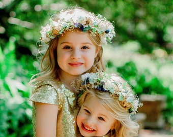 Sister Set Flower Girl Halos -set of 2- dried flower crown Mommy and Me hair wreath Navy Gold Aqua Mint wedding acessories Mother Daughter