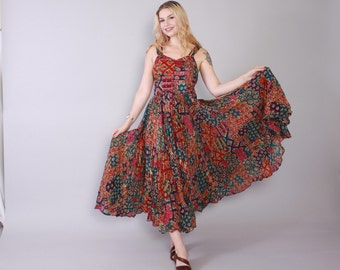 Vintage 90s SUN DRESS / 1990s Indian Gauze Floral Strappy Full Skirt Maxi Dress S - M