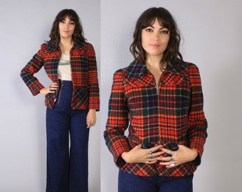 Vintage 70s PLAID JACKET / 1970s Cropped Wool Puff Sleeve Winter Coat S - M