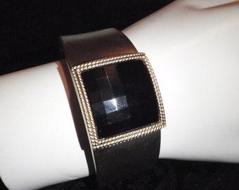 Vintage Black Bangle - Black Framed Stone - Gold Tone for Women