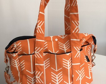 NEW Orange and White Arrow Nappy Bag with Insulated Bottle Pockets on Side