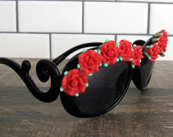 Romantic Red Roses with Swirl Arms Sunglasses Embellished Retro Shades Sunnies