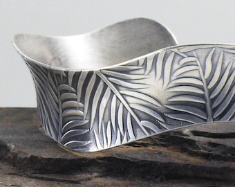 Eco Friendly Leaves Sterling Silver Bracelet, Palm Leaf Cuff, Fern Leaves Bracelet