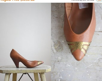 VACATION SALE. brass leather pumps / size 5 1/2
