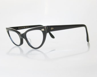 Vintage 1960s Cat Eye Glasses Black Eyeglasses Retro Mad Men Fashion Mid Century Modern Mod 60s Sixties Obsidian Midnight Womens Ladies