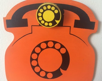 Vintage Rotary Telephone Clipboard Mod Pop Art 60's Retro Orange 70's