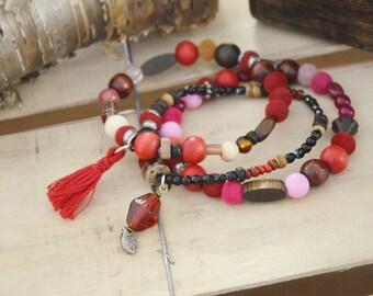 Trio Bracelets rouges zen boheme bois