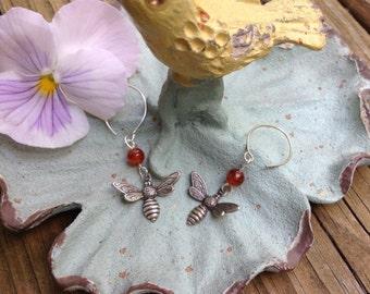 Bee And Carnelian Silver Earrings