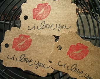 Gift Tags - i love you- with lips