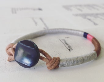 READY TO SHIP - Cooper bracelet - leather wrap, vintage navy button closure, handmade jewelry
