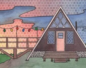 mid century modern house original watercolor painting