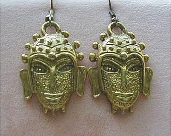 Vintage Tribal Mask Earrings Goldtone Pierced
