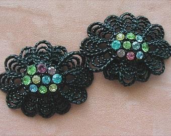 Shoe Clips Black and Multi Rhinestone Vintage