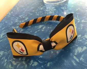 Pittsburgh Steelers Football Logo Woven Headband with Attached Bow - Stand Out In The Crowd
