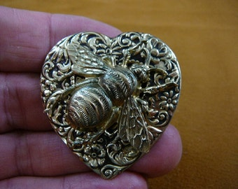 large striped Bee bumble bees insect bug on flower scrolled heart repro Victorian brass pin pendant B-Bee-150