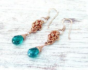 Bohemian Moroccan Earrings - Boho Moroccan Earrings - Bohemian Copper Earrings - Copper Bohemian Earrings - Earrings Bohemian - Boho Green