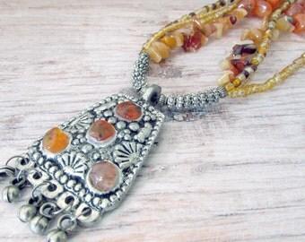 Long Layered Bohemian Necklace - Statement Tribal Necklace - Ethnic Gemstone Necklace - Layered Gemstone Necklace - Gemstone Ethnic Necklace