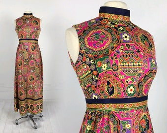 Vintage 60s 70s Psychedelic Maxi Dress tapestry print multi-color boho hippie 1970s M festival