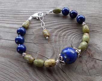 Genuine Gaspeite and High Quality Lapis with Sterling Silver Gemstone Bracelet