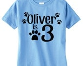 Kids Dog Theme Birthday Party Shirt, Paw Prints, Personalized Unique Gifts, Birthday Party Ideas, Doggie Shirt, Includes A Name And Age