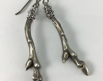 Sterling Silver Twig Earrings