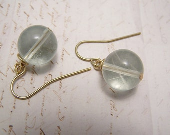 Clear Glass Orb Earrings