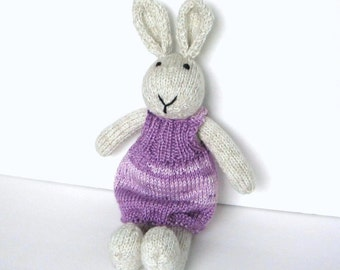 Hand Knit Bunny Rabbit, Ready To Ship, Baby Girl Gift Toddler Gift Knit Toy Stuffed Toy Stuffed Animal Kids Toy Plush Toy Bunny Doll 15""