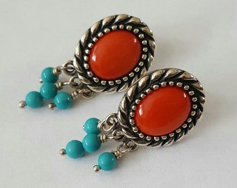 Vintage Sterling Silver Red Coral and Turquoise Cabochon Post Earrings