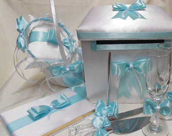 White Aqua Blue Pool Blue Wedding accessories Ring Pillow Flower Girl Basket halo Guest book Pen card box  Garters Cake set Toasting glasses
