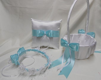 White Aqua Blue Pool Blue Wedding accessories Ring Bearer Pillow Flower Girl Basket Flower Girl halo Your Colors