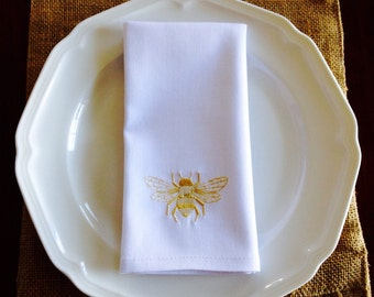 Embroidered Regal Bee Napkins, set of 4