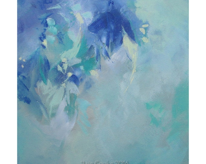Abstract Expression Art Original Contemporary Painting turquoise blue  Musing 132