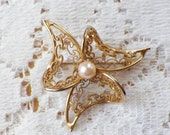 Delicate and Elegant Vintage Filigree Flower Pin / Brooch / Broach, Gold Tone Metal, Movement, Faux Pearl Center, Three Petals
