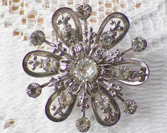 Vintage Clear Rhinestone / Rhinestones Silver Tone Brooch / Pin / Broach, Snowflake, Fleur De Lis, Bride / Bridal, Clear Rhinestones
