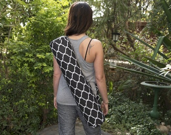 Yoga mat bag - yoga mat carrier - gift for yogi - best yoga gift - yoga bag for women - yoga teacher gift - pilates mat bag - black yoga bag