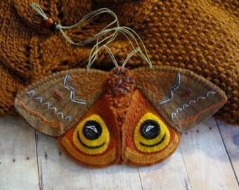 Io  Moth Ornament - Ready to Ship Embroidered Fiber Art