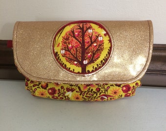 Gold Glitter Tree of Life Morning Glory Pouch, Tula Pink Birds and Bees fabric pouch
