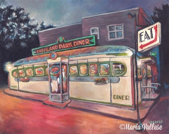 Highland Park Diner - Rochester, NY Signed and Matted Art Print