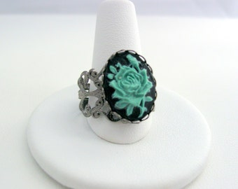 Gothic Punk Lolita Cameo Gunmetal Floral Filigree Ring with Sage Green Flower