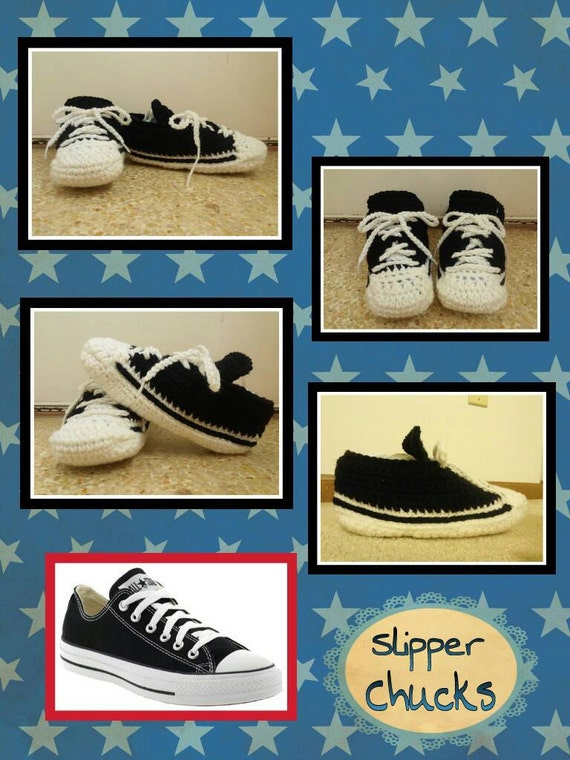 Converse Slippers for Women Men Adults, Crochet Converse Slippers, Handmade Slippers for Men Women Adults Mom Dad Grandma, Hand Knit Slipper