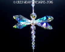 m/w Swarovski Crystal The Original RARE 38mm Big Logo Wings Aurora Borealis Magnificent LARGE DRAGONFLY Suncatcher Lilli Heart Designs