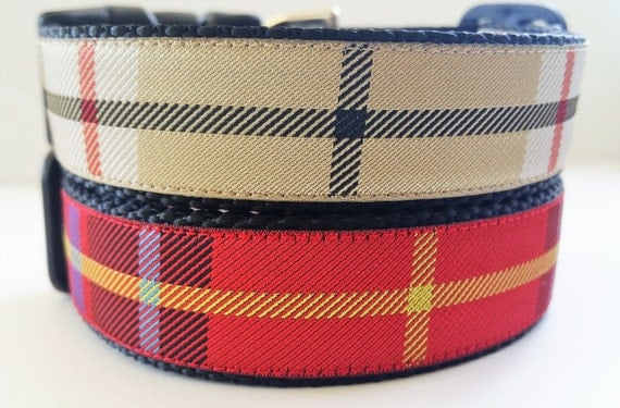 Plaid Dog Collar - Adjustable / Handmade / Pet Accessories / Tartan / Christmas / Large Dog Collar
