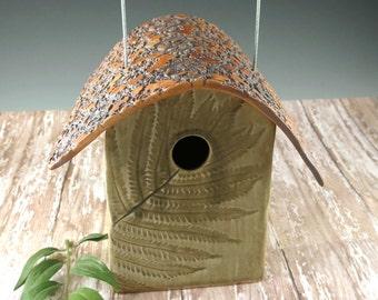 Birdhouse - Ceramic Bird House - Fern Leaf Pattern - Celedon Green Bird House