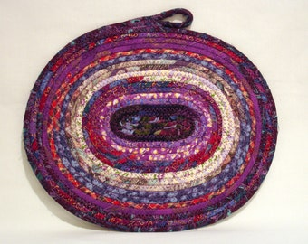 Purple Coiled Fabric Candle Mat, Table Mat