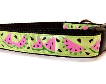 Dog Collar, Watermelon, 1 inch wide, adjustable 18-26 inches, quick release
