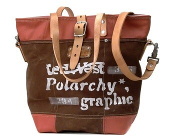 Leather Jacket CottonTent Shoulder Bag  // Recycled and handmade by peace4you - Model pauline-2154