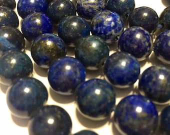 "Lapis round beads WHOLE 16"" STRAND 100% natural Afghani stones"