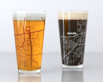 Starkville, MS - Mississippi State - College Town Pint Map Glasses